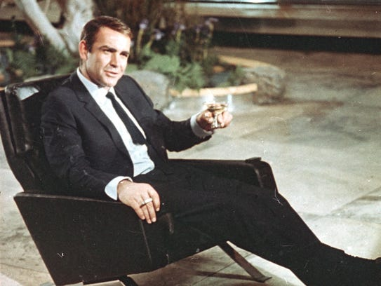 Actor Sean Connery is shown during filming for the