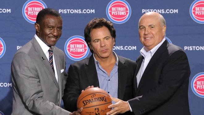Detroit Pistons head coach Dwane Casey, owner Tom Gores and senior adviser Ed Stefanski, June 20, 2018, at Little Caesars Arena.