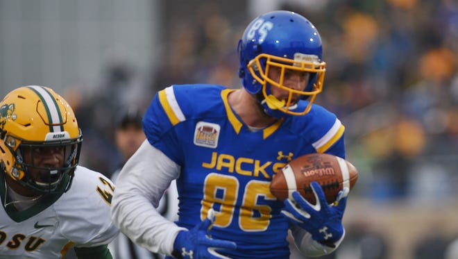 South Dakota State University's Dallas Goedert hauls in a one-handed touchdown catch during Saturday's game against NDSU.