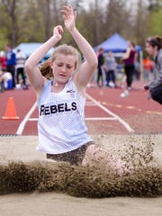 South Burlington's Odessa O'Brien competes in the long jump during an outdoor track and field meet at Burlington High School.