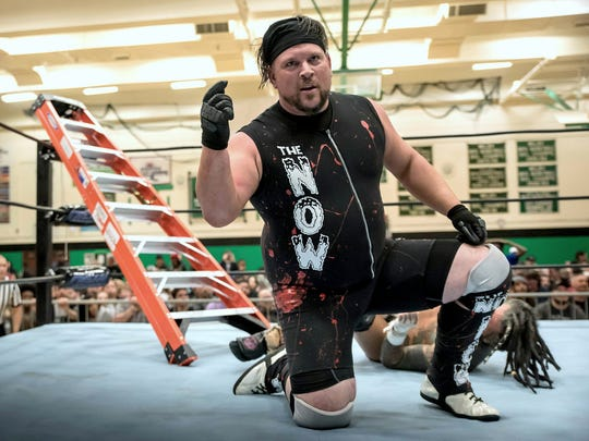 Rob Begley, wrestling as Vik Dalishus, on Northeast Wrestling's Christmas Chaos card on Dec. 1 in Waterbury, Conn. This photo was taken shortly before Begley shattered his leg.