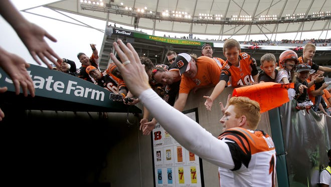 Andy Dalton threw three touchdowns in the Bengals victory over San Diego on Sunday.