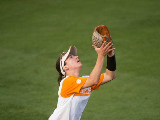 Tennessee's Jenna Holcomb keeps her glove open to catch