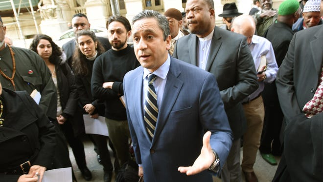 Omar Mohammedi, seen here outside a Manhattan court last year, will speak at an anti-Islamophobia event in Montclair this Sunday.