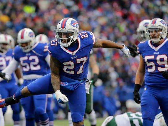 Buffalo Bills strong safety Duke Williams celebrates