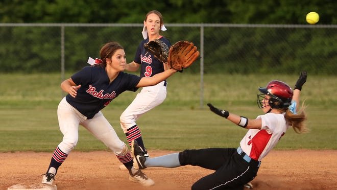 USJ's Addison Dunn steals second base on Thursday against Tipton-Rosemark in the Division II-A West Region championship.