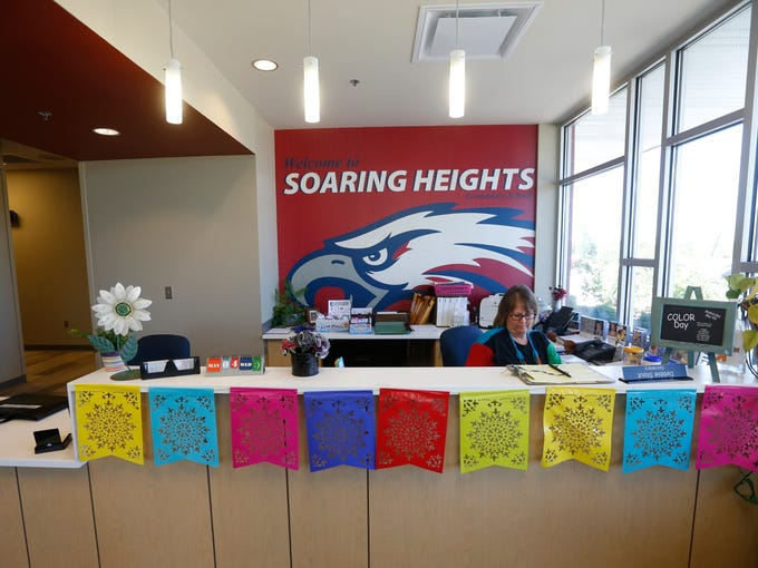 The reception area at Soaring Heights Elementary School.
