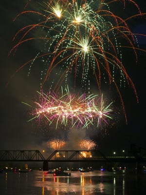 Fireworks light up the sky at the annual Fourth of July fireworks display in Augusta on Thursday.