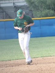 Sycamore senior shortstop Jake Borman re-enacts a play