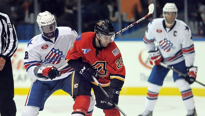 Amerks rookie winger Jordan Samuels-Thomas, pictured here in the season opener, has made great strides for the Amerks over the past three months.