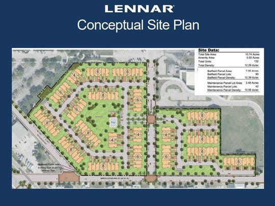 Lennar Homes would build 90 town houses on the current site of Sailfish Ballpark, and 42 more across Georgia Avenue over the city's public works garage.