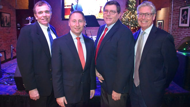 (from left) Sean Murphy, Westchester County Executive Rob Astorino, and Chris and Michael Murphy recently gathered at The Capitol Theatre/Garcia's in Port Chester when Murphy Brothers Contracting received the American Institute of Architects Westchester + Hudson Valley's 2015 Professional Affiliate Award. Astorino was among the other 2015 honorees, winning the Public Official Award.