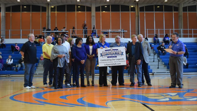 Officials of the Louisiana Sports Hall of Fame and Louisiana College, along with family members of the late Louisiana College women's basketball coach Janice Joseph-Richard, recognize her upcoming induction into the Louisiana Sports Hall of Fame.