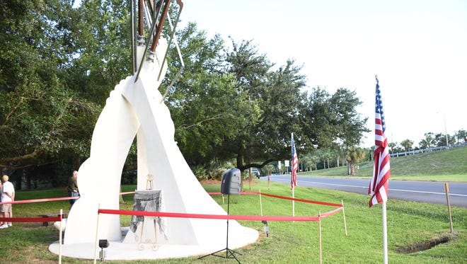 A look at Triple Up, a sculpture commissioned by Pensacola attorney Fred Levin for the city of Gulf Breeze to honor the 50th anniversary of the city and Levin's loved ones, including his late wife Marilyn. The sculpture, done by Pensacola area artist Michael Boles, was unveiled and dedicated in a ceremony on Tuesday, June 26, 2018, in Gulf Breeze.