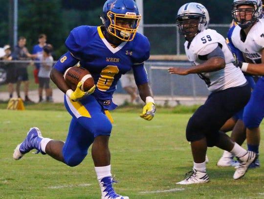 Wren High School's Trey Gray (8) runs the ball against