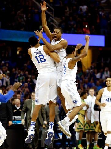 Aaron Harrison (center) and his teammates felt like