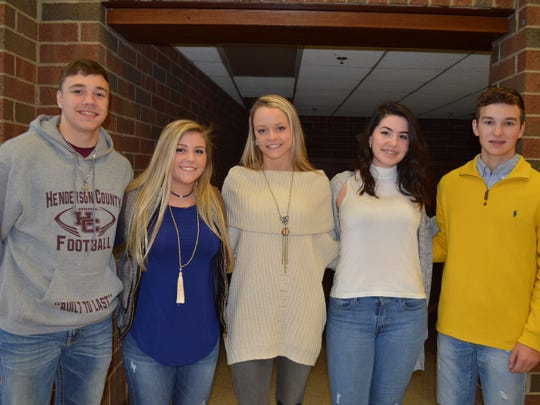 Henderson's sophomore homecoming court are, pictured from left: Will Steiner, Reagan Ransom, Carlee Crafton, Tabitha Taylor and Ty O'Bradovich. Not pictured: Logan Wilkerson