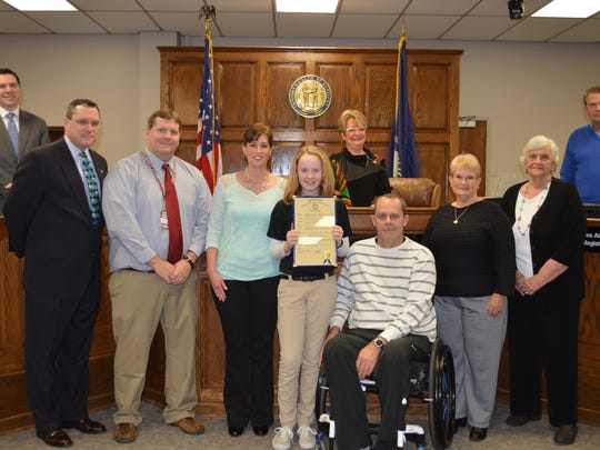 South Middle School's January Judge's Scholar is sixth grader Madeline McCormic. Pictured from left: Judge Brad Schneider, Austin Durham, guidance counselor,  Amy, mother, Madeline McCormic, Matt, father, Donna Hodges, grandmother and Hilda McCormic, grandmother.