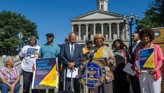 NAACP President Gloria Sweet-Love and others associated with the Tennessee NAACP chapter discuss the planned Journey for Justice march and commemorate the 50th anniversary of the Voting Rights Act on Thursday, Aug. 13, 2015, in Nashville.