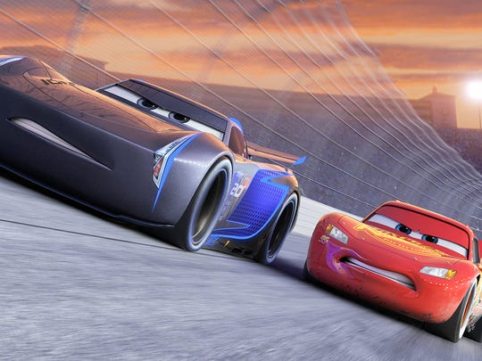 "Jackson Storm (voice of Armie Hammer), a frontrunner in the next generation of racers, posts speeds that even Lightning McQueen (voice of Owen Wilson) hasn't seen, in ""Cars 3."""