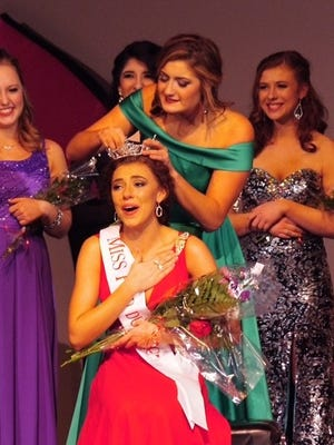 Katrina Mazier, 17, of Appleton, is crowned Miss Fond du Lac on Saturday night at the Goodrich Little Theatre in Fond du Lac.