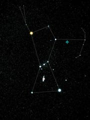 This illustration, based on an image of Orion by NASA, shows the location of the blazar, situated in the night sky just off the left shoulder of the constellation Orion. The source is about 4 billion light-years from Earth.