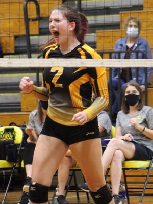 Keyser's Gini Breedlove celebrates a point for the Lady Tornado against Legacy Christian Academy. Tribune photo by Chapin Jewell