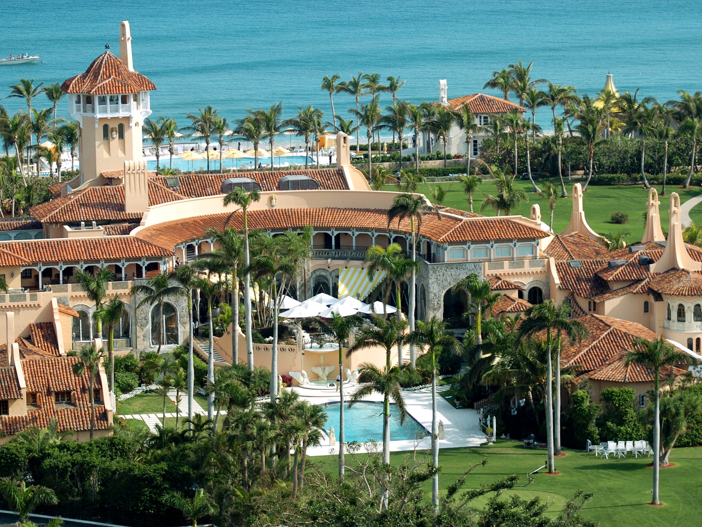 Aerial view of Mar-a-Lago, the oceanfront estate of