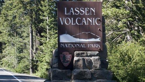 Lassen Volcanic National Park entrance sign.