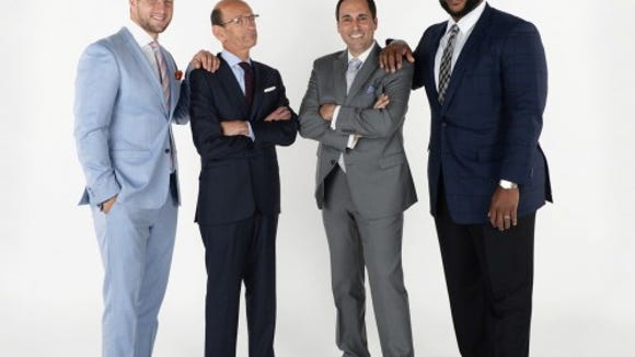 The SEC Network's morning show crew: Tim Tebow, Paul Finebaum, Joe Tessitore and Marcus Spears.