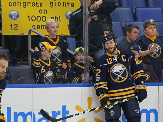Buffalo Sabres forward Brian Gionta (12) looks on prior