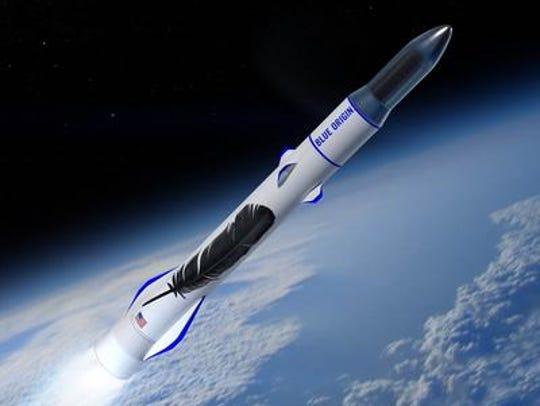 Concept image of Blue Origin's New Glenn rocket launching