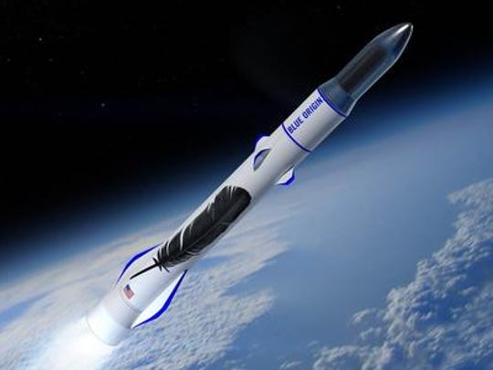 Concept image of Blue Origin's New Glenn rocket launching a payload to orbit.