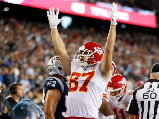 Kansas City Chiefs tight end Travis Kelce celebrates a fourth quarter touchdown in a 42-27 win over the New England Patriots.