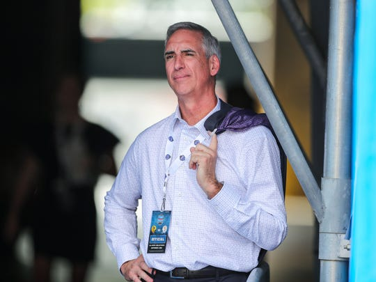 Sep 1, 2018; Charlotte, NC, USA; XFL chief executive officer Oliver Luck stands in a tunnel and watches the game during the first quarter at Bank of America Stadium. Mandatory Credit: Ben Queen-USA TODAY Sports