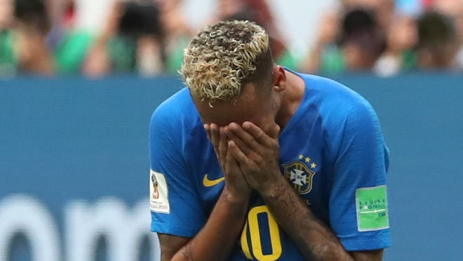 Neymar reacts after the win against Costa Rica.
