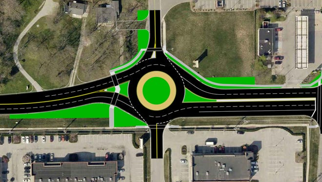 Greenwood has asked the Indiana Department of Transportation to approve a $3.6 million project to build a Michigan left and two roundabouts to ease congestion at Smith Valley Road and Ind. 135. The busy intersection is near the entrances to several huge retailers including Home Depot and Target. Construction is underway nearby on a new Walmart. Submitted by Mark Richards, Greenwood's director of Community Development Services and the city engineer.