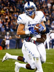 University of Memphis tight end Joey Magnifico grabs