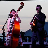 Delilah DeWylde performs (with Lee Harvey) at the main stage of the Sun Dried Music Festival Saturday, Aug. 27, 2016, in downtown Mason, Mich.