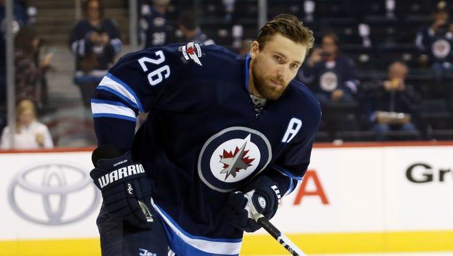 Winnipeg Jets forward  Blake Wheeler has eight goals and 20 points this season.