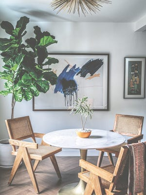 A leafy fig tree adds a healthy glow to this artist's dining room.