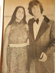 Judy DeRango Wicks with the prom king for Naples High School in 1974.