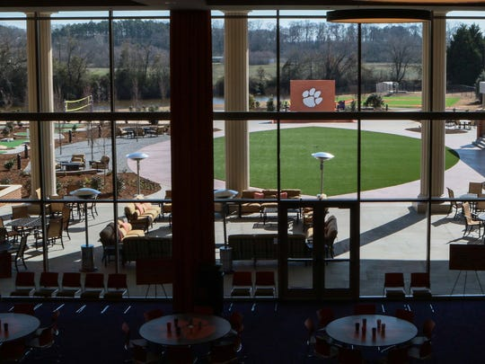 A view from the second floor at the Allen N. Reeves Football Complex, overlooking the dining hall and the outdoor village.