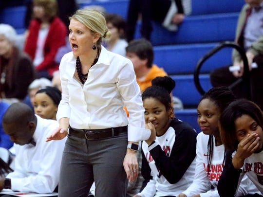 Stewarts Creek girls basketball coach Lindy King is shown during a 2018 game.