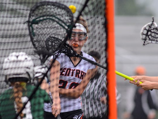 Central York's Liz Rader takes a shot on goal against Carlisle during the District 3 Class 3-A girls' lacrosse, Wednesday, May 16, 2018. John A. Pavoncello photo
