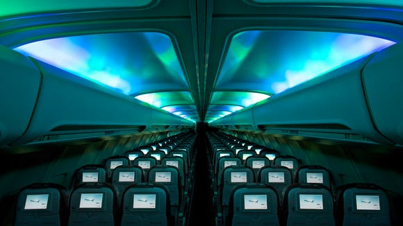 The plane's main cabin has LED lighting offering a