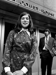 Ambra Offutt, left, 12, arrives at federal district court in Nashville for a hearing on her lawsuit against the Little League on May 9, 1974.