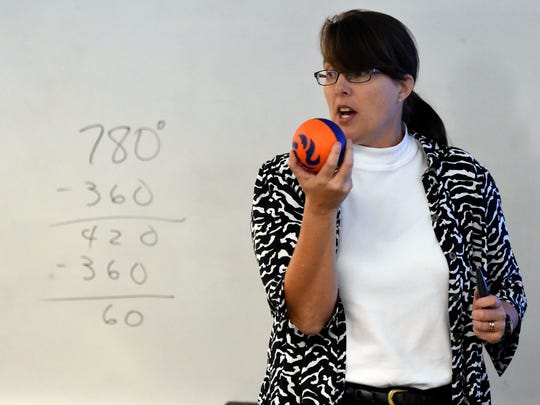 Gibson Southern mathematics teacher Diane Nurrenbern speaks to students in her honors pre-calculus class at the School in Fort Branch recently.  Nurrenbern has been at the school for 7 years and worked 19 previous years at North High School.