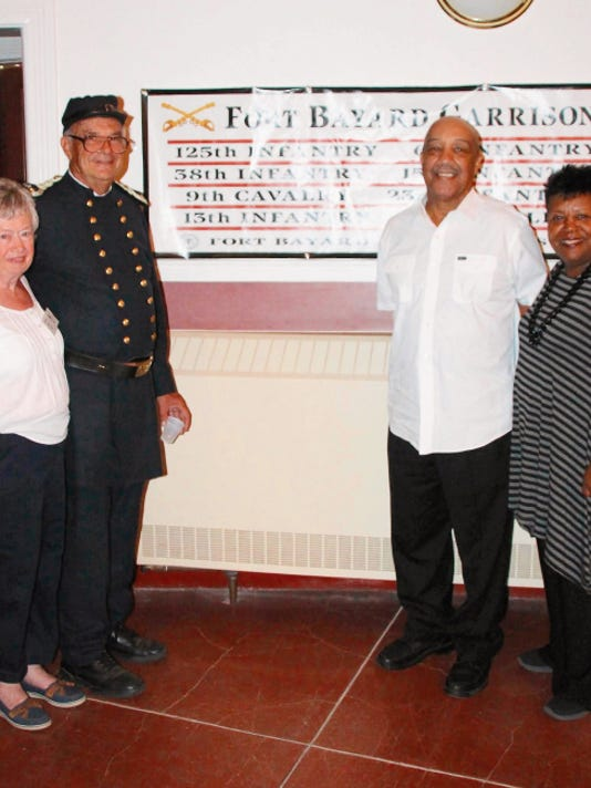 Cecilia and Dr. John Bell, at left, and Dr. Joseph Bowers and his wife, Florence, who spoke about her husband´s great-grandfather, John Martin Daniel, who served at Fort Bayard with the 125th Infantry from 1865-67 during the Fort Bayard 149th anniversary celebration on Saturday. Mary Alice Murphy   Sun-News