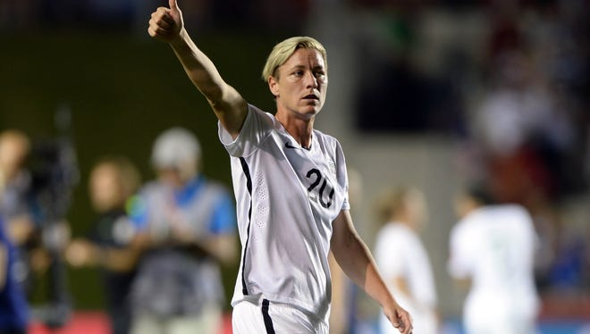 United States forward Abby Wambach (20) reacts after defeating China in the quarterfinals of the FIFA 2015 Women's World Cup at Lansdowne Stadium. United States won 1-0.